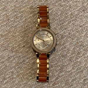 Michael Kors gold watch with coral